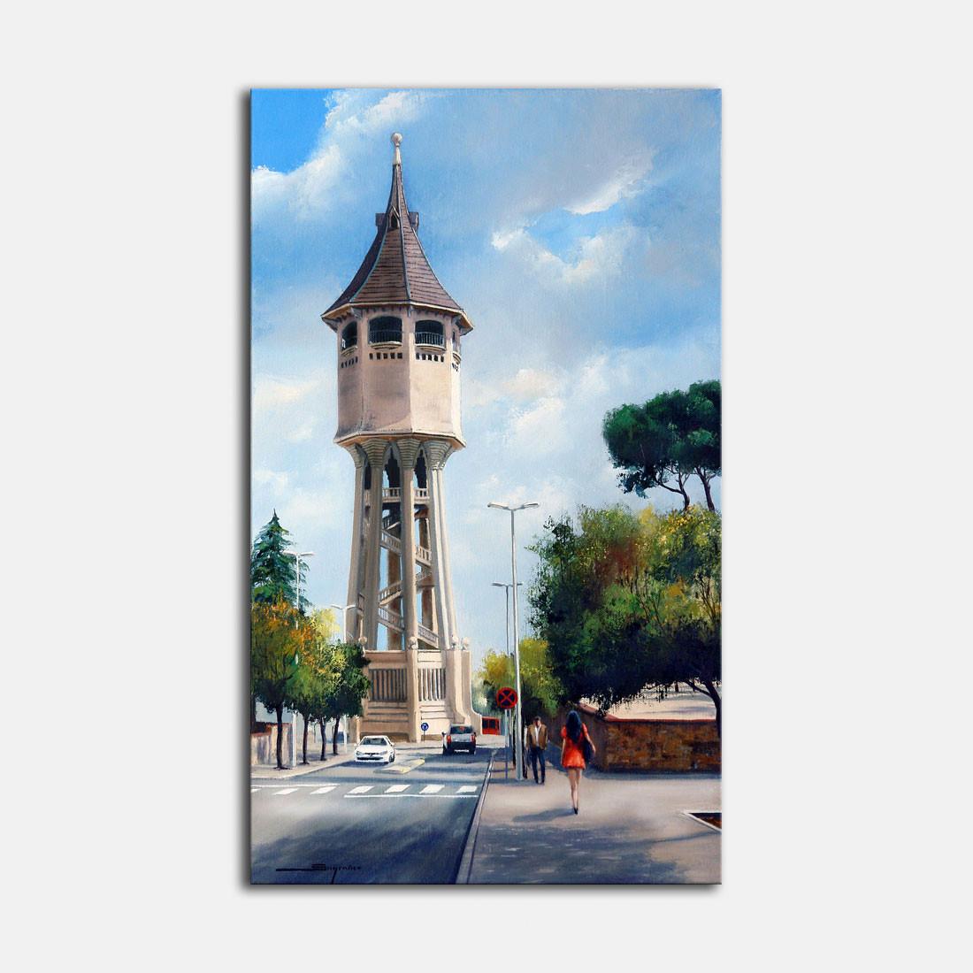 Cuadro al óleo-Torre del Agua Sabadell